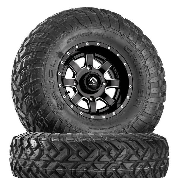 Can Am Maverick D538 Matte Black & Milled Wheels with Fuel Gripper T | R | K Tires by Fuel Off-Road
