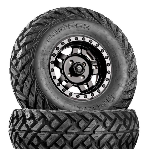 Can Am Anza D557 Matte Black Wheels with Fuel Gripper Tires by Fuel Off-Road