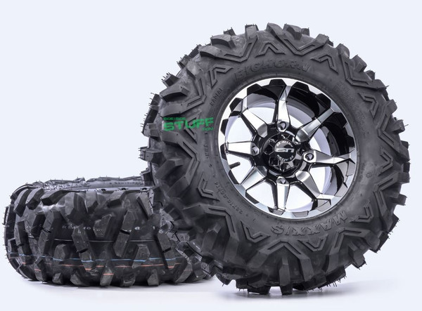 Can Am Offroad HD6 Machined Wheels w / Bighorn Radial Tires by Stiand Maxxis