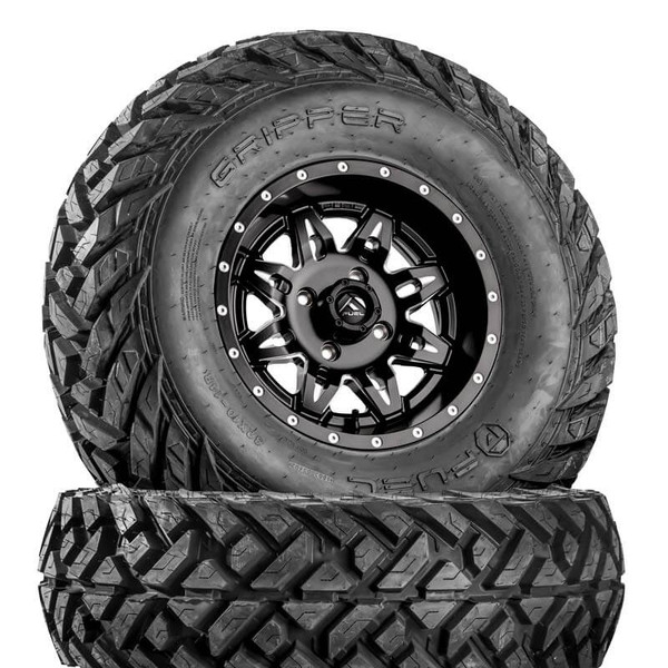 Can Am Lethal D567 Matte Black & Milled Wheels with Fuel Gripper Tires by Fuel Off-Road