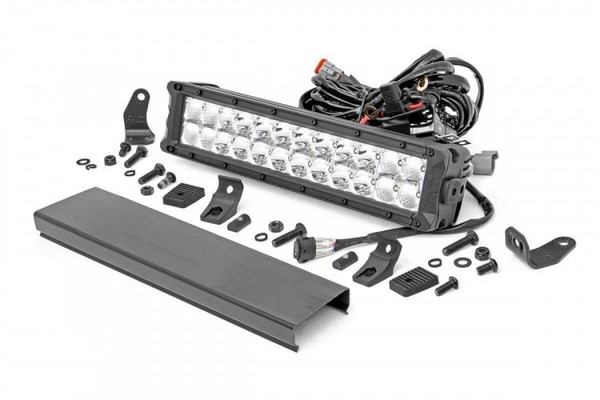 Can-Am 12-inch Cree LED Light Bar - (Dual Row   Chrome Series w/ Cool White DRL) by Rough Country