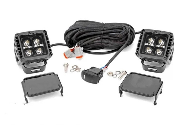 Can-Am 2-inch Square Cree LED Lights - (Pair | Black Series w/ Cool White DRL)