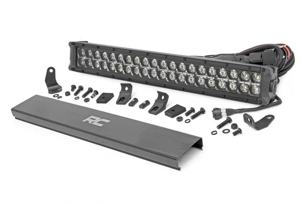 Can-Am 20-inch Cree LED Light Bar - (Dual Row | Black Series w/ Amber DRL) by Rough Country