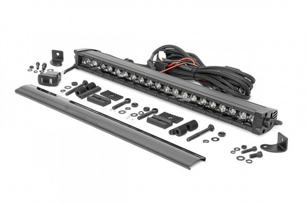 Can-Am 20-inch Cree LED Light Bar - (Single Row   Black Series w/ Cool White DRL) by Rough Country