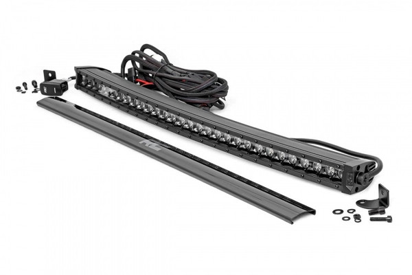 Can-Am 30-inch Curved Cree LED Light Bar - (Single Row   Black Series w/ Cool White DRL) by Rough Country