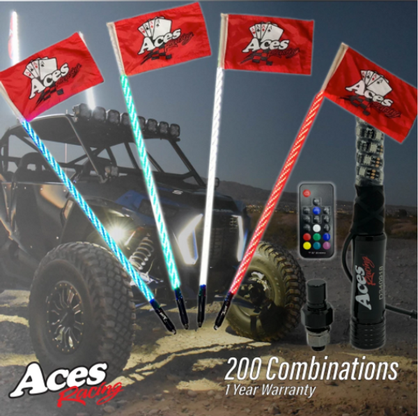 Can Am 200 Combination Deluxe Lighted Whips by Aces Racing