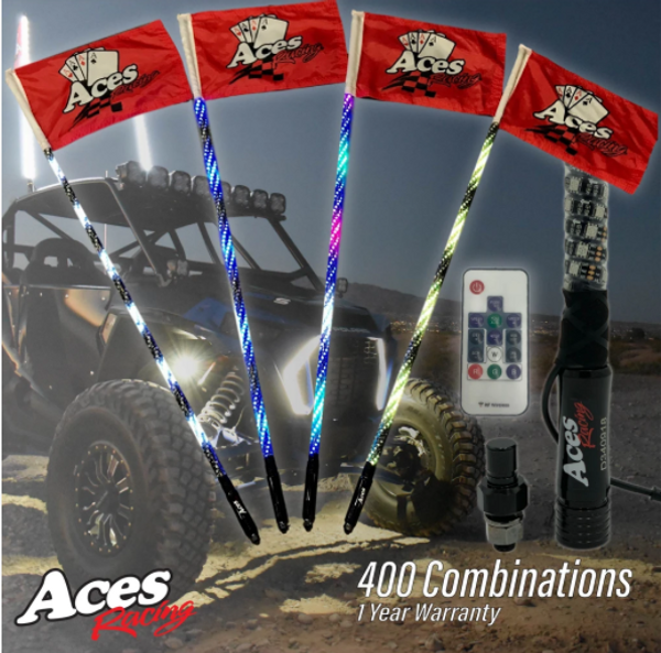 Can Am 400 Combination Deluxe Lighted Whips by Aces Racing