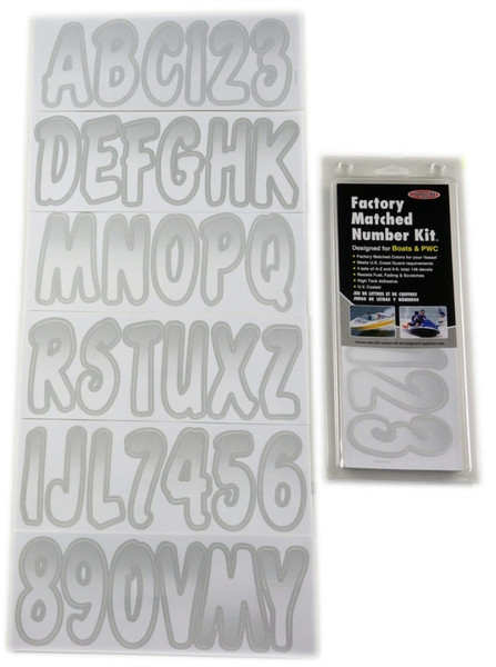 Can-Am Boat Lettering White/Silver 3″ Registration Kit