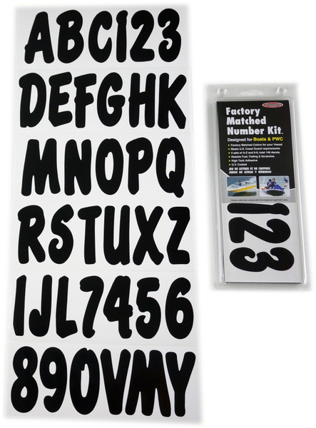 Can-Am Boat Lettering Solid Black 3″ Registration w/Install Kit