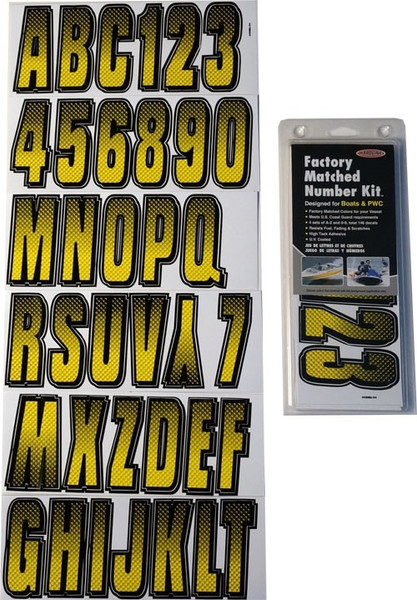 Can-Am Boat Lettering Yellow/Black 3″ Registration Kit