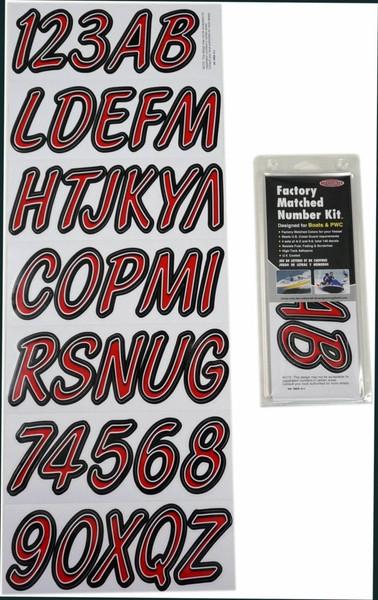 Can-Am Boat Lettering Red/Black 3″ Registration Kit