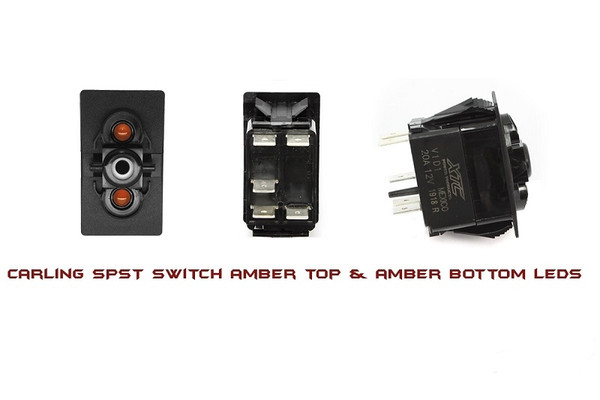 Can Am On-Off Spst Carling Rocker Switch With Amber Top And Bottom Led by XTC Power Products