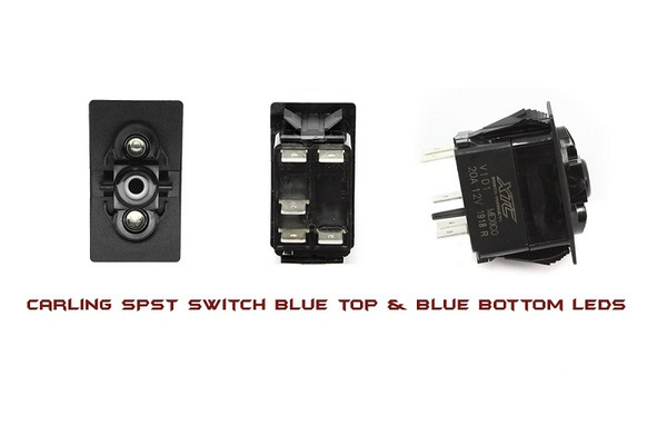 Can Am On-Off Spst Carling Rocker Switch With Blue Top And Bottom Led by XTC Power Products