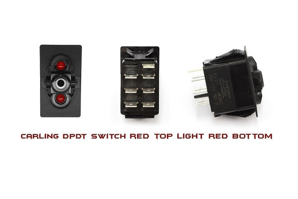 Can-Am Commander / Maverick / Defender On-Off-On DPDT Carling Rocker Switch with Red Top & Bottom LED by XTC Power Products