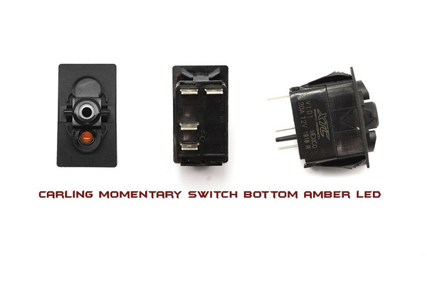 Can-Am Commander / Maverick / Defender On-Off SPST Momentary Carling Rocker Switch with Amber Bottom LED by XTC Power Products