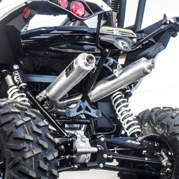 Can Am Maverick Pink Euro Blackout Dual Slip On Performance Series Exhaust by HMF Racing