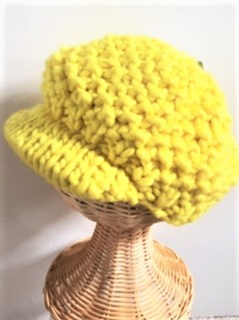 One size  70% acrylic; 30% wool Wide knit stitch with knitted visor By San Diego Hat Company