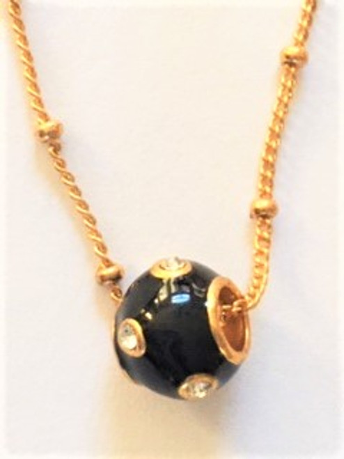 "black enamel satellite pendant bead with clear Swarovski crystals 16"" gold fill beaded chain spring closure clasp 2"" attached extender By Athena Designs"