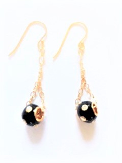Shepherd hook ear wires in gold vermeil  Gold fill chain findings Black satellite bead in enamel with Swarovski crystals By Athena Designs