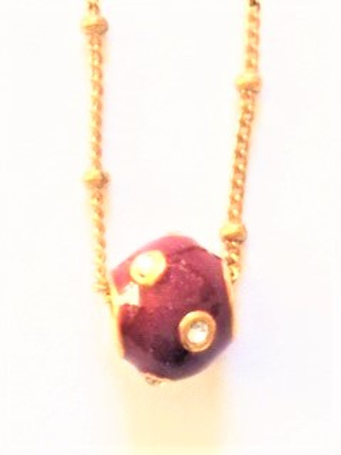 """red enamel satellite pendant bead with clear Swarovski crystals 16"""" gold fill beaded chain spring closure clasp 2"""" attached extension By Athena Designs"""