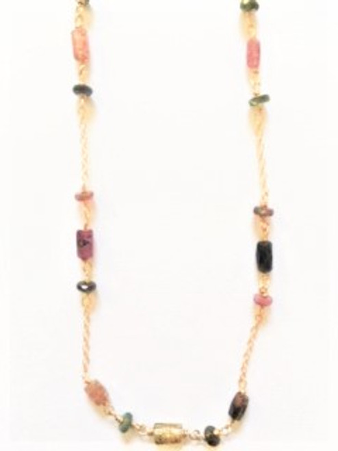 "16"" gold filled chain 1.5"" attached extender spring  clasp closure small pink, green & yellow tourmaline raw barrel beads accompanied by thin green & pink round raw faceted spacer beads By Athena Designs"