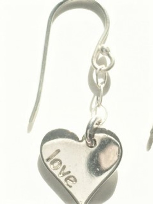 "Sterling silver shepherd hook ear wires Heart shape and findings in sterling silver Heart shape has word ""love"" inscribed on both sides of heart face By Athena Designs"