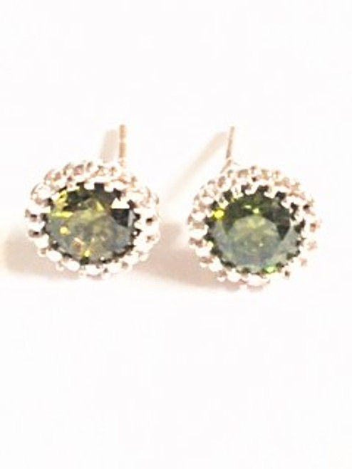 Sterling silver post earring Diameter size:  .37 Peridot colored cubic zirconia stone Sterling silver findings  By Athena Designs
