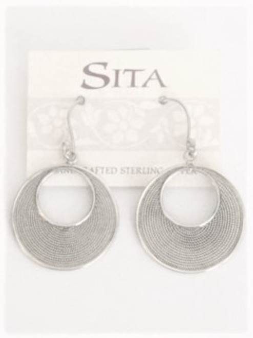 "Sterling silver shepherd hook ear wires Sterling silver circle cutout 1"" diameter with rope design etching pattern By Sita, handcrafted sterling silver made in Bali Indonesia"