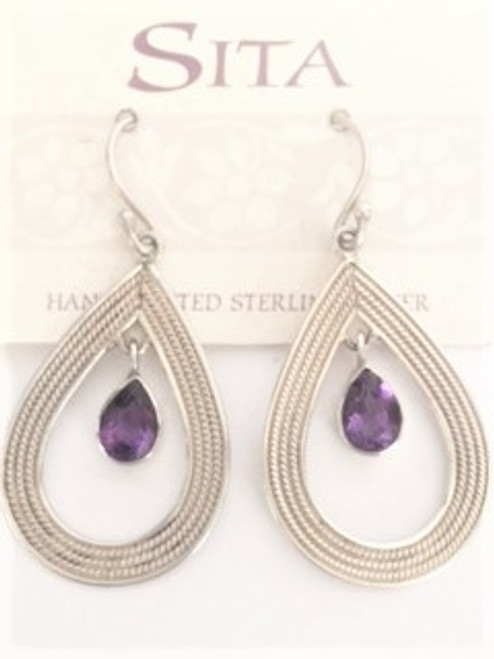 """Sterling silver shepherd hook ear wires Sterling silver teardrop cutout 1.06"""" in length; .75"""" at widest Amethyst faceted teardrop stone is .31"""" in length; .18"""" wide By Sita, handcrafted sterling silver made in Bali Indonesia"""