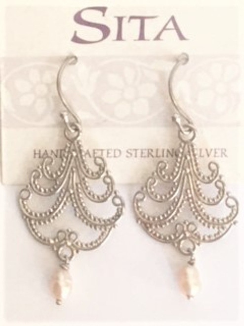 "Sterling silver shepherd hook ear wires Sterling silver plume design cutout 1.20"" in length; .75"" at widest White freshwater pearl dangles at bottom or sterling silver plume  By Sita, handcrafted sterling silver made in Bali Indonesia"