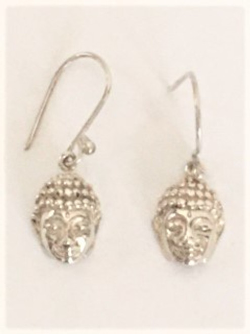 "Sterling silver shepherd hook ear wires Sterling silver buddha design is .43"" in length & .37 wide with hand embellishments featuring buddha face By Sita, handcrafted sterling silver made in Bali Indonesia"