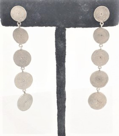 """Sterling silver post earring  Sleek and sophisticated 2.37"""" length Five cascading round sterling silver discs with spiral rope pattern etching   By Sita, handcrafted sterling silver made in Bali Indonesia"""