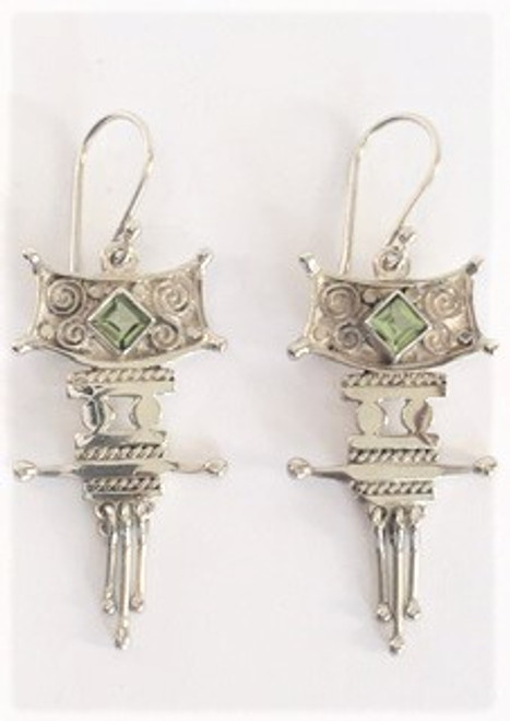 """Sterling silver shepherd hook ear wires Sterling silver pagoda design is 1.5"""" in length; .75"""" at widest with square cut peridot stone and 3 independent moving pieces on the design bottom  By Sita, handcrafted sterling silver made in Bali Indonesia"""