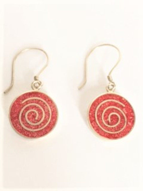 """Sterling silver shepherd hook ear wires Red coral is inlaid within a sterling silver round casing .56"""" in diameter with a decorative spiral of sterling silver as the special feature Back side of round design is sterling silver By Sita, handcrafted sterling silver made in Bali Indonesia"""
