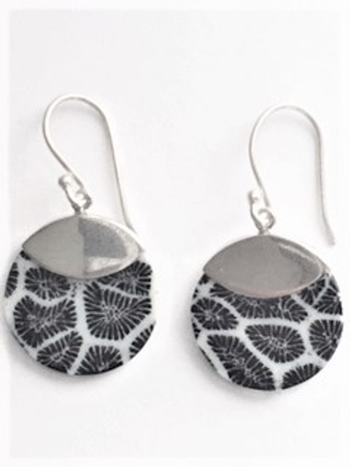 """Sterling silver shepherd hook ear wires Uniquely patterned black coral is used with a sterling silver medium for this round earring that is .81"""" in diameter By Sita, handcrafted sterling silver made in Bali Indonesia"""