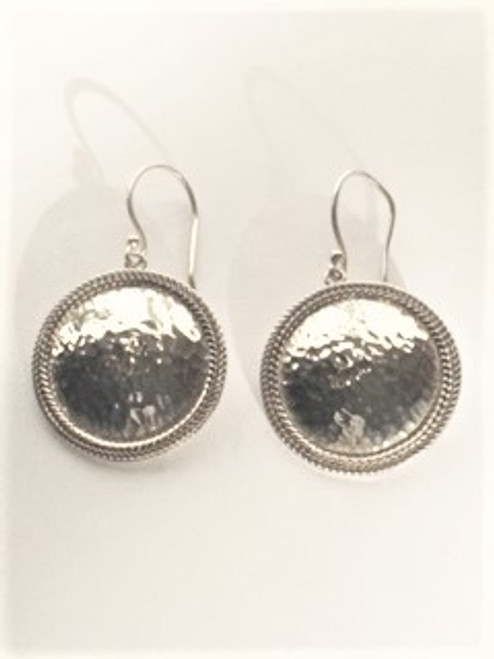 """Sterling silver shepherd hook ear wires Large 1"""" round hammered sterling silver earrings with raised double rope pattern around the outside See matching Sita bracelet in separate listing By Sita, handcrafted sterling silver made in Bali Indonesia"""