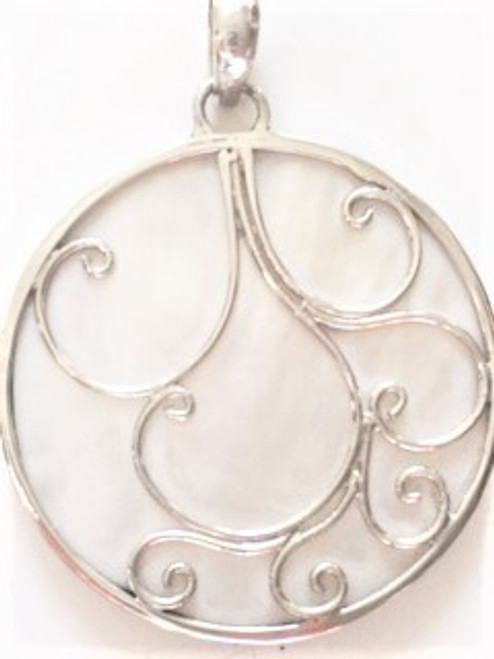 """Large 1.31"""" round mother of pearl pendant has abstract sterling silver overlay design Sterling silver around circumference of mother of pearl 15"""" satin chain with sterling silver end caps and lobster claw fastener  Large opening sterling silver pendant bale can accommodate any other chain you may prefer  By Sita, handcrafted sterling silver made in Bali Indonesia"""