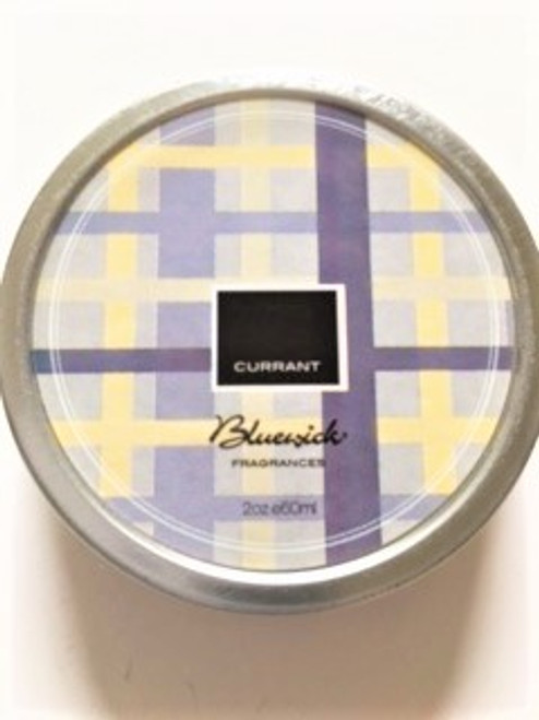 "Top lid of currant tin with plaid design: - 2.5"" in diameter; .87"" high - 2.1 oz. tin can - Burn time:  6 hours - pure soy wax - natural and fragrance oils - cotton wicks - no animal materials"