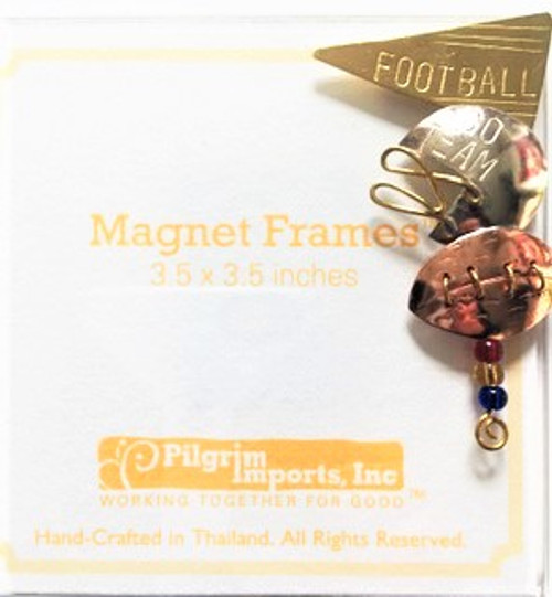 "Clear acrylic 3.5"" x 3.5"" magnet picture frame  Metal ""Football"" fan motif is affixed to top right corner.  Metal is composed of three different metals—nickel, copper, and brass. There is no lead or any other harmful substance in the metals; all metal pieces are designed to be safe as possible, with a minimum of sharp corners and edges. Only lead free solder is used."