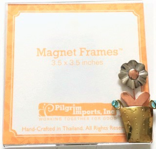 "Clear acrylic 3.5"" x 3.5"" magnet picture frame  Metal ""potted plant"" motif is affixed to bottom right corner.  Metal is composed of three different metals—nickel, copper, and brass. There is no lead or any other harmful substance in the metals; all metal pieces are designed to be safe as possible, with a minimum of sharp corners and edges. Only lead free solder is used"