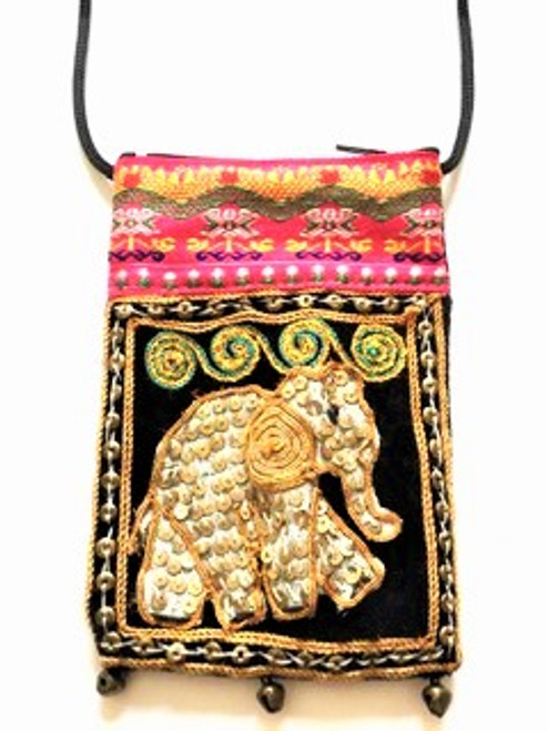 "This small crossbody pouch is intended to be decorative as well as functional.  It's cheerful with it's ornately decorative elephant  vignette (spiral design on elephant body) and small bells on pouch bottom give it a delightful sound with movement.   Size is 4"" wide by 6"" tall and has a 48"" black attached cord strap and zip top.  A special little pouch for your very smallest essentials.  Handcrafted using sequins, bronze donut beads, muslin, metallic thread, embroidered top border & bells at pouch bottom."