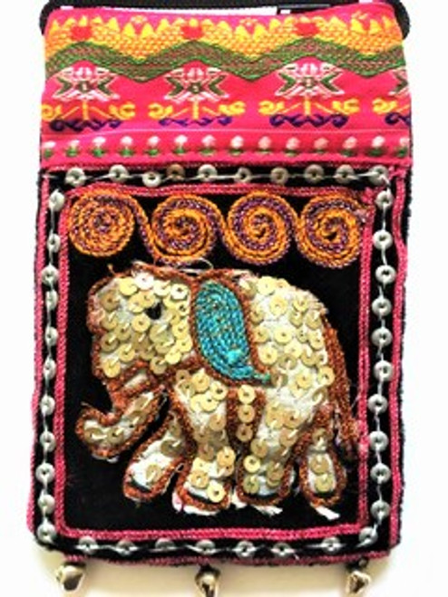 "This small crossbody pouch is intended to be decorative as well as functional.  It's cheerful with it's ornately decorative elephant  vignette (blue oval design on elephant body) and small bells on pouch bottom give it a delightful sound with movement.   Size is 4"" wide by 6"" tall and has a 48"" black attached cord strap and zip top.  A special little pouch for your very smallest essentials.  Handcrafted using sequins, matt silver donut beads, muslin, metallic thread, embroidered top border & bells at pouch bottom."