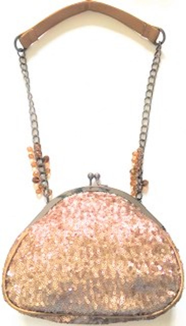 "Handbag size:  8.5"" wide; 7"" tall Ball snap handbag top closure Lining is solid champagne satin 13"" drop pewter chain handle with faux champagne & topaz bronze beading  Fabric top handle Zip inside pocket By Liz Soto Handbags"