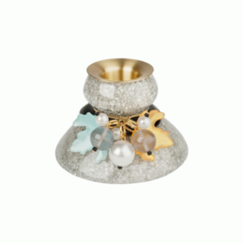 Candle Holder hand made of resin combined with natural materials Light blue and gold resin leaves with faux pearls and topaz resin baubles decorate this light gray speckled candle base with black resin spacer.  Gold connecter link findings for leaf and bead connecters.  Brass colored base for seating candle Comes in Lalo Treasures craft colored box By Lalo Treasures