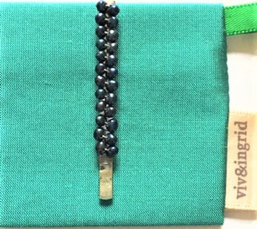 """1.75"""" (4.445 cm) long bobby pin (sold individually as pictured here)  Two rows of hand wrapped blue freshwater pearls Each bobby pin comes with signature fabric jewelry pouch, perfect for storage, travel and gift giving! By Viv & Ingrid"""