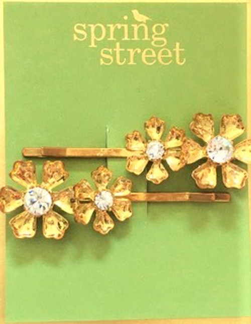 """Set includes two hair pins as shown Pin length is 2.5"""" long and .75"""" high Gold toned large flower pins with clear crystal center By Spring Street Design Group"""