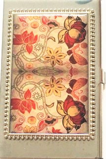 Paisley print pattern Silver metal casing Snap tab closure Card case back is solid metal with Hang maker's mark By Hang Accessories