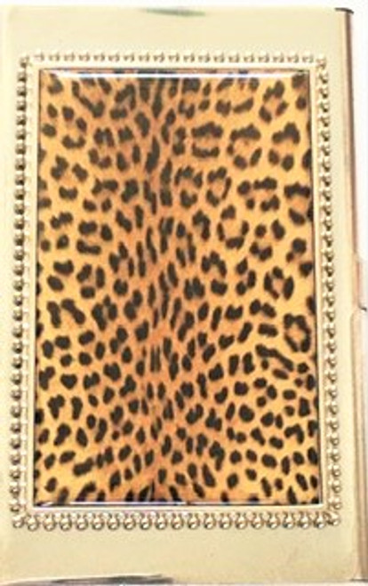 Leopard print pattern Silver metal casing Snap tab closure Card case back is solid metal with Hang maker's mark By Hang Accessories