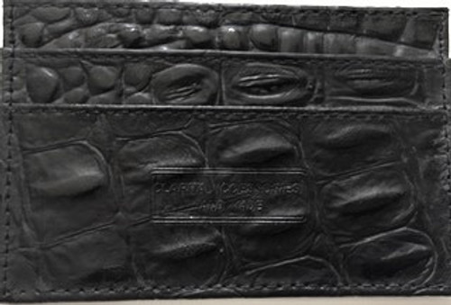"Front Side of Card Holder Height:  2.75"" Length:  4.25"" Black crocodile embossed leather 4 slots and one center fold pocket Unisex   Maker's mark embossed stamp on front side Hand Made by Clarita Accessories"