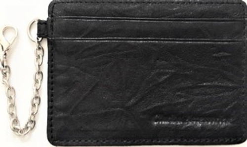 "Front Side of Card Holder Height:  3"" Length:  4"" Black lightly textured leather 4 slots and one center fold pocket Attached silver chain with lobster claw fastener Unisex   Maker's mark embossed stamp on front side By Clarita Accessories"